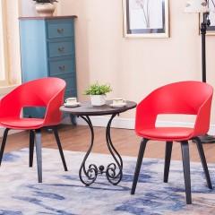圣昂  AJG001791 会客椅网红北欧加厚简约扶手椅 咖啡厅休闲洽谈椅 家用布艺餐椅 红色 PP注塑靠背+圆柱原木脚 颜色备注