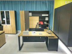 杭达/HD HD-BGZ1601主管桌经理桌中班台南非柚木+黑 1.6米办公桌 弗吉尼亚+黑